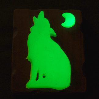 Cuadro Lobo lunático Verde Brillando